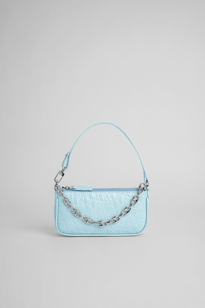 Mini Rachel Ice Circular Croco Embossed Leather