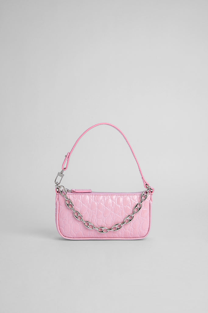 Mini Rachel Peony Circular Croco Embossed Leather