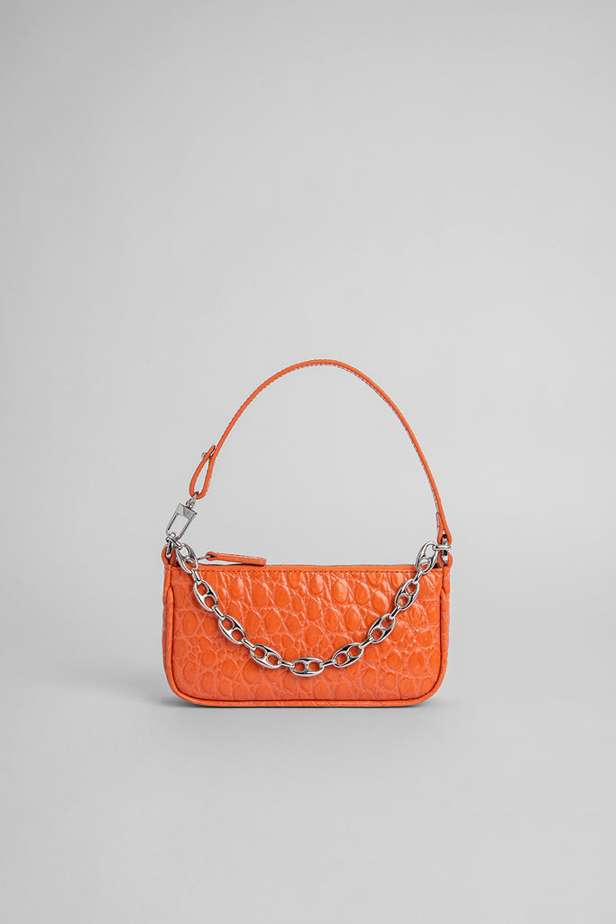 Mini Rachel Papaya Circular Croco Embossed Leather