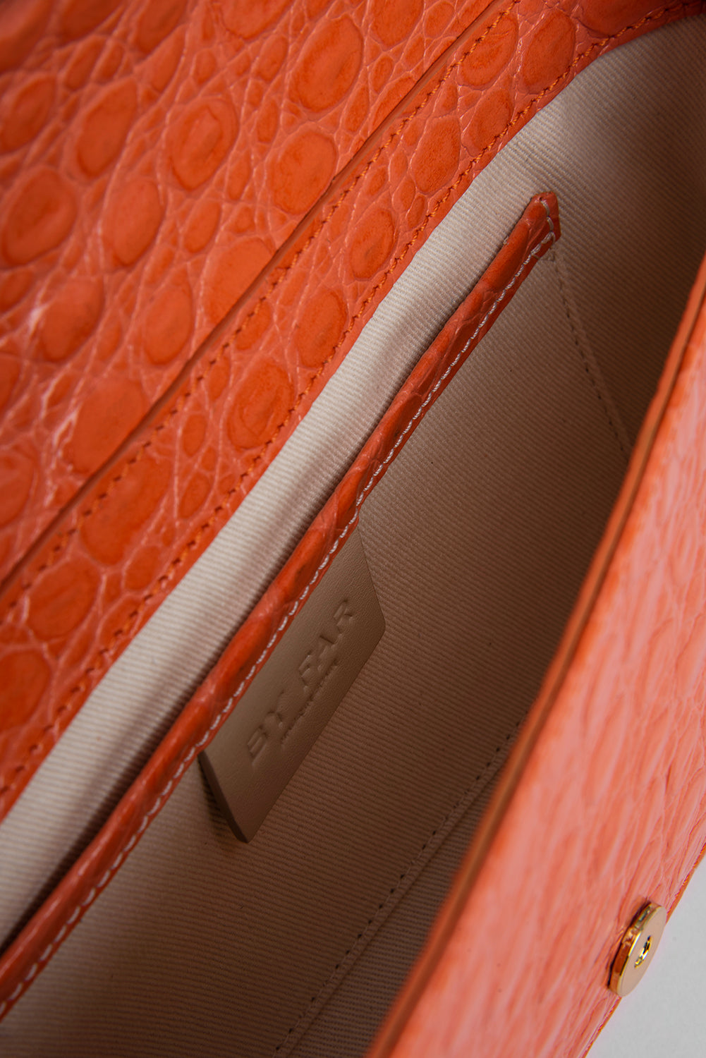 Miranda Papaya Circular Croco Embossed Leather