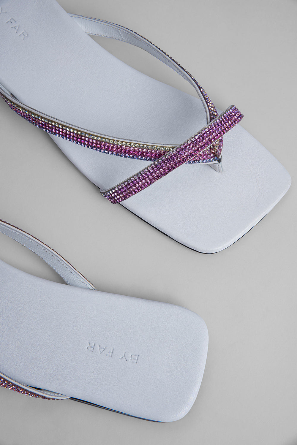 Deni White Leather and Crystals