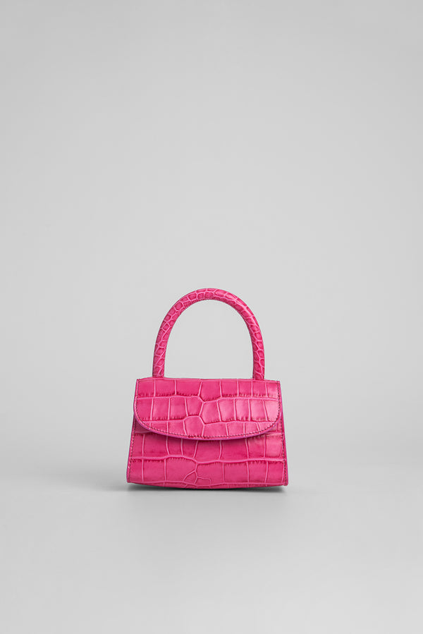 Mini Hot Pink Croco Embossed Leather