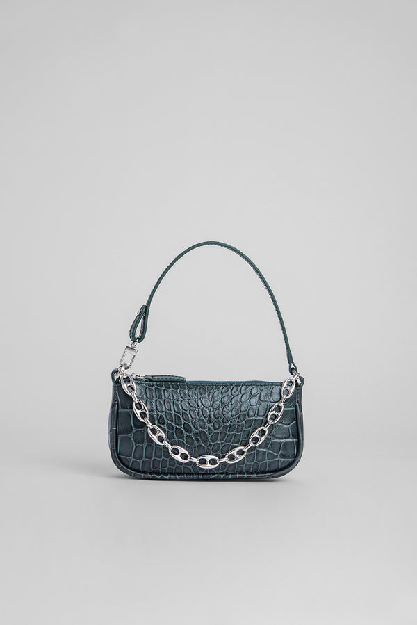 Mini Rachel Dark Green Croco Embossed Leather