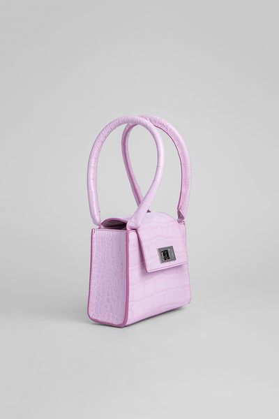 Sabrina Pink Croco Embossed Leather