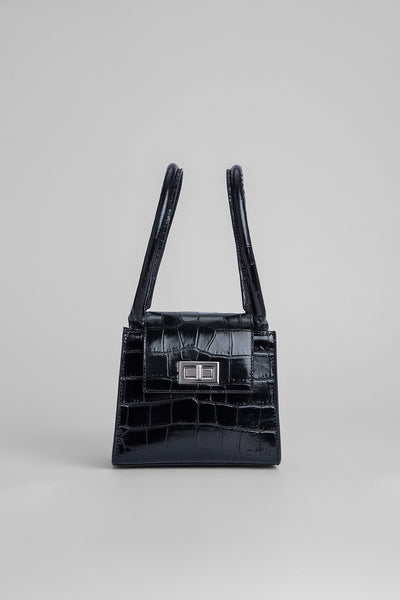 Sabrina Black Croco Embossed Leather