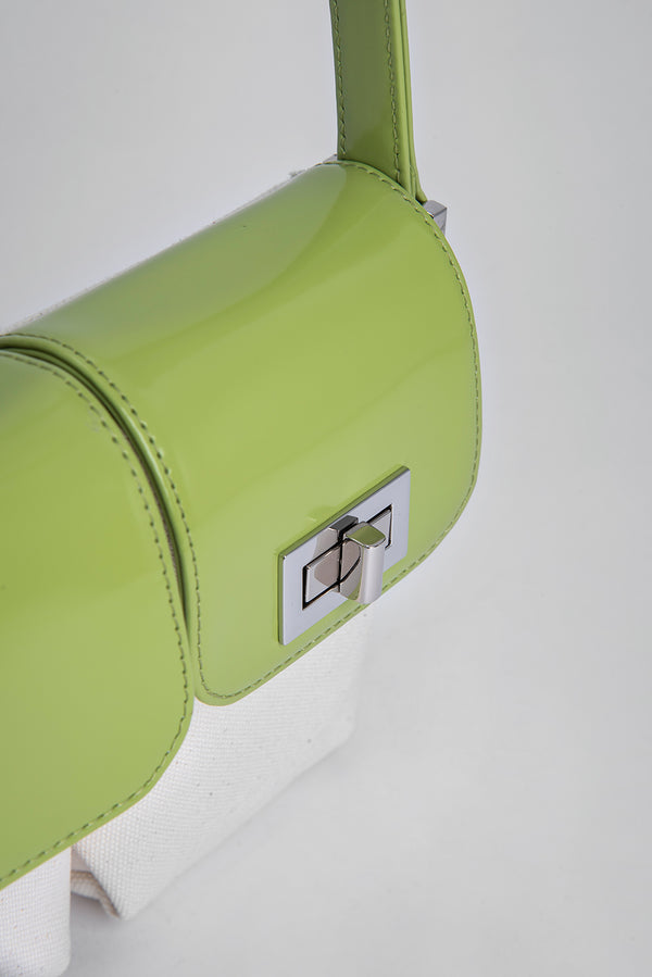 Billy Natural Canvas and Lime Green Semi Patent Leather
