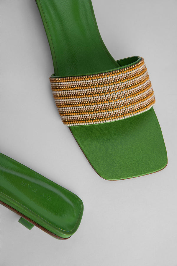 Ceni Kiwi Green Leather and Crystals