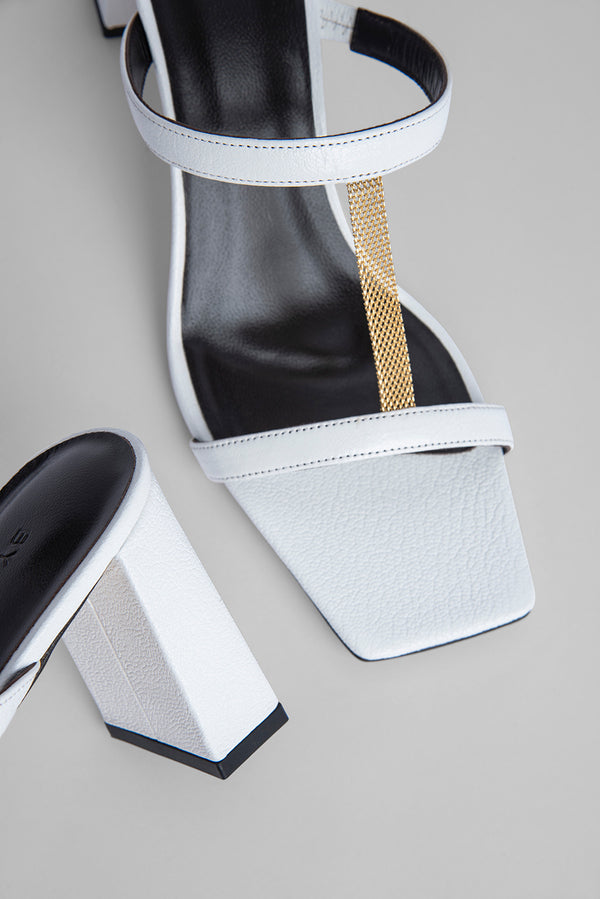 Chloe White Grained Leather