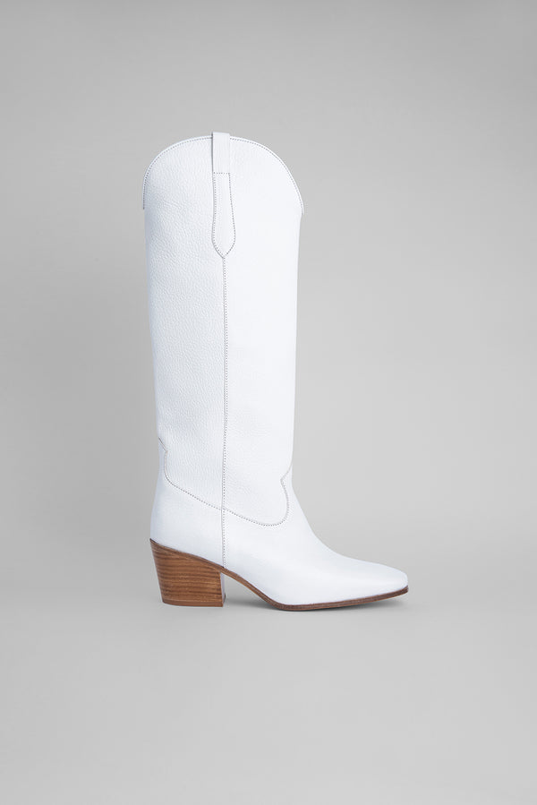 Willa White Grained Leather