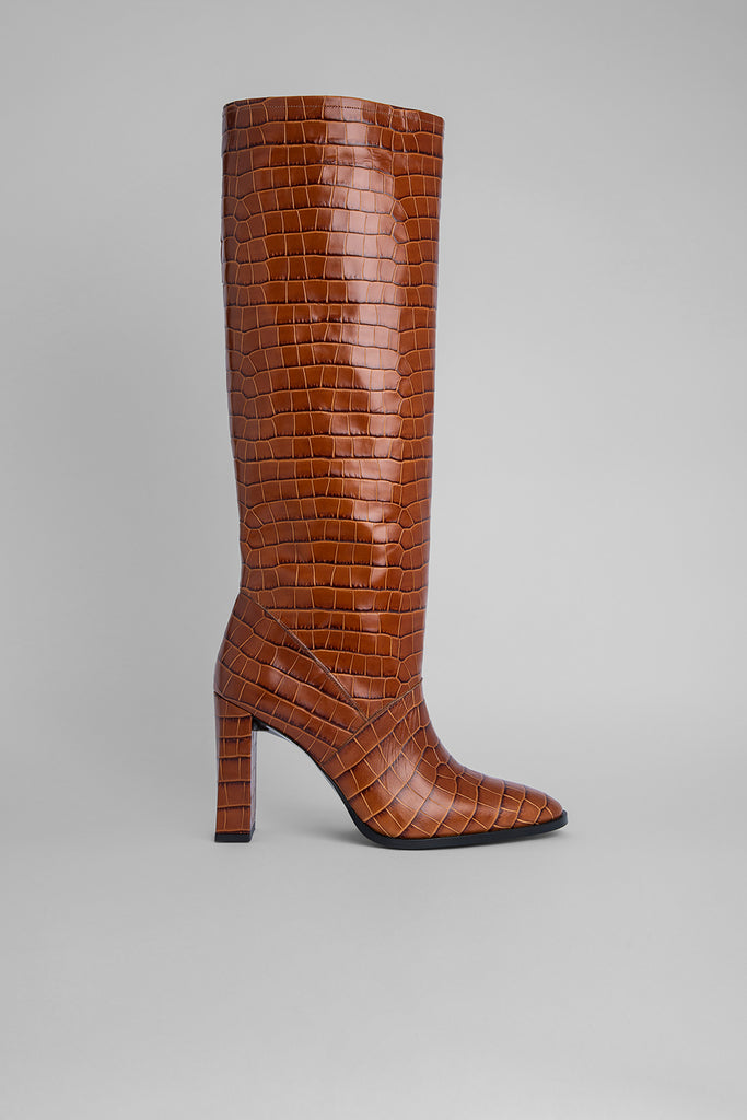 Camilla Tan Croco Embossed Leather