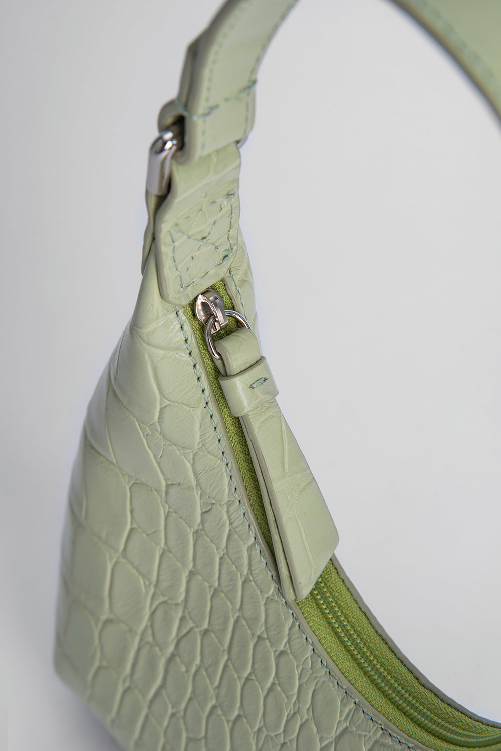 Baby Amber Sage Green Croco Embossed Leather