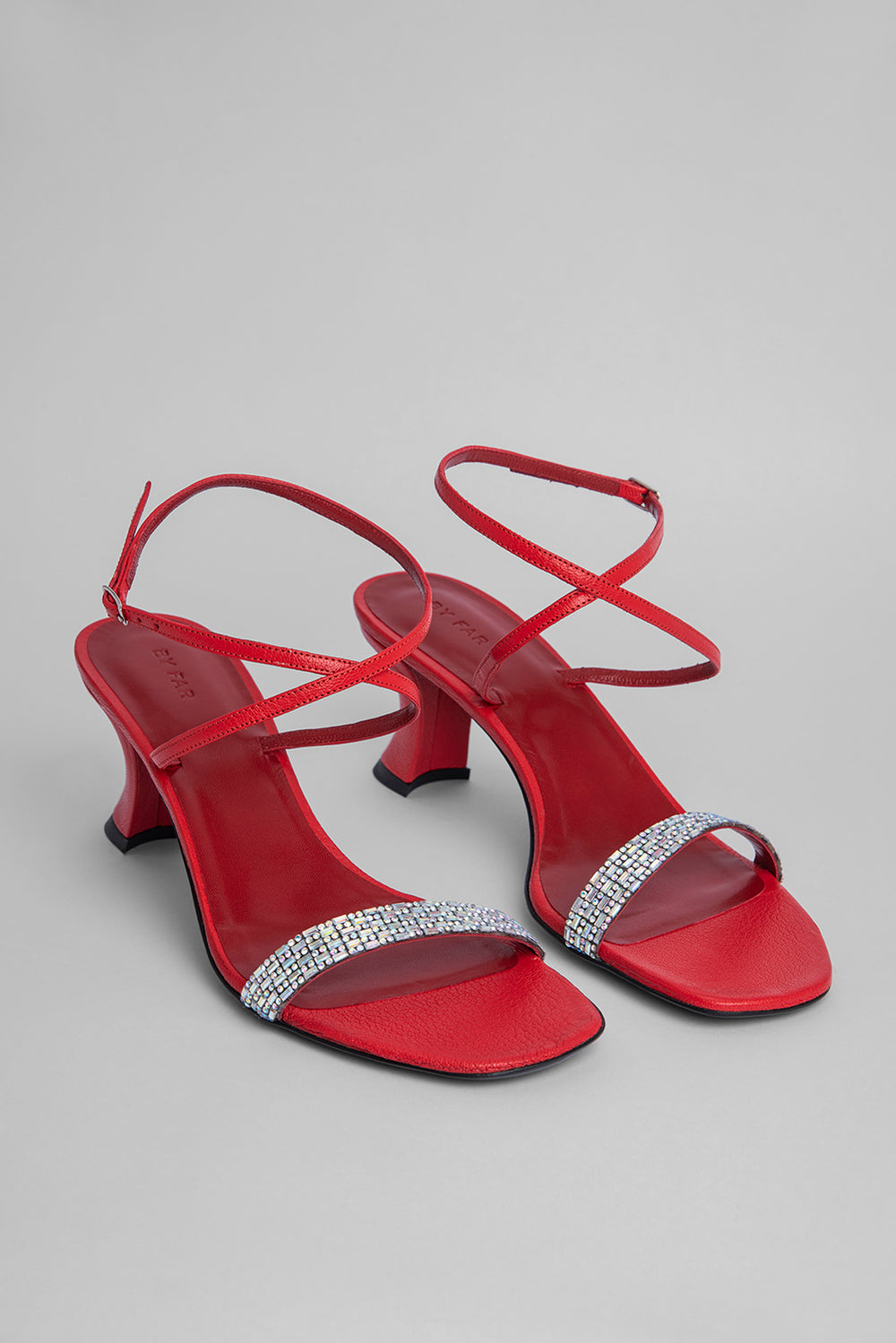 Nelly Red Grained Leather and Crystals