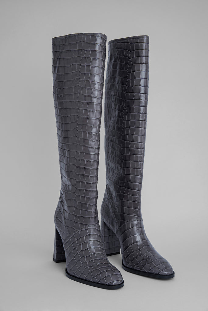Camilla Grey Croco Embossed Leather