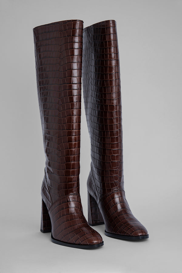 Camilla Nutella Croco Embossed Leather