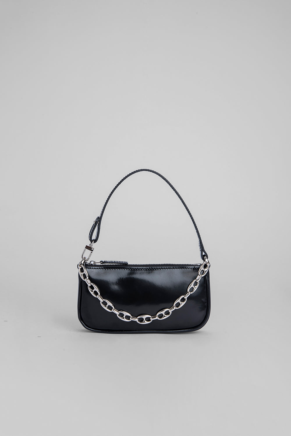 Mini Rachel Black Semi Patent Leather