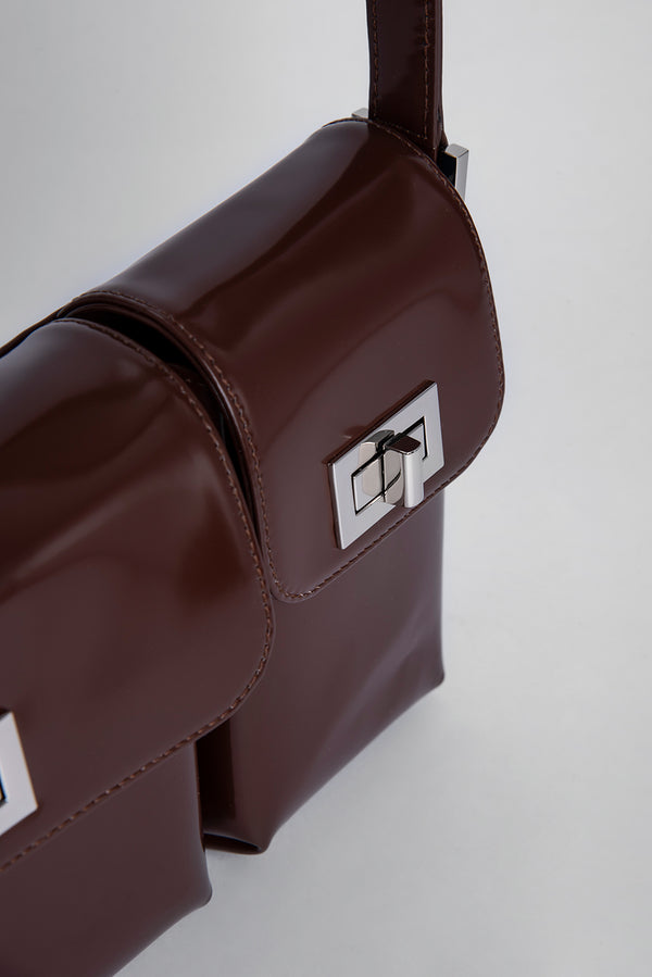 Billy Dark Brown Semi Patent Leather