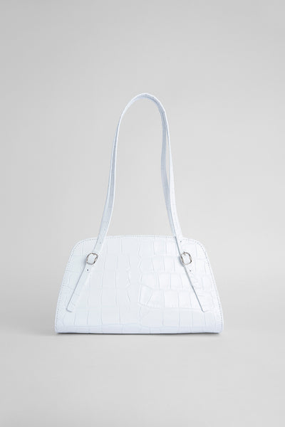 Lora White Croco Embossed Leather