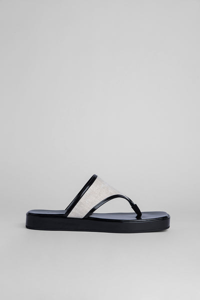Otto Black Semi Patent Leather and Natural Linen