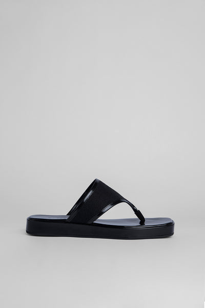 Otto Black Semi Patent Leather and Black Linen