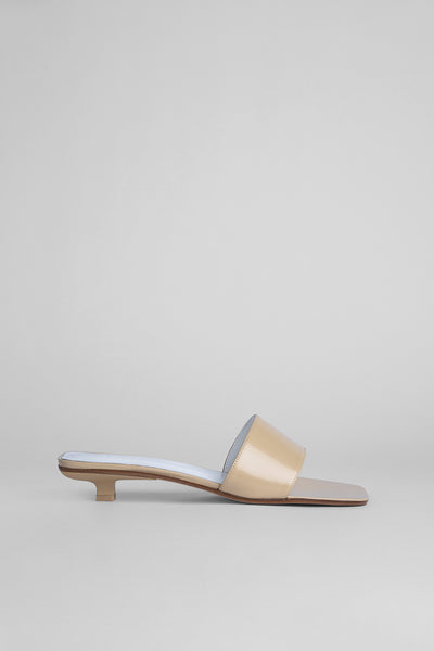 Ceni Beige Semi Patent Leather