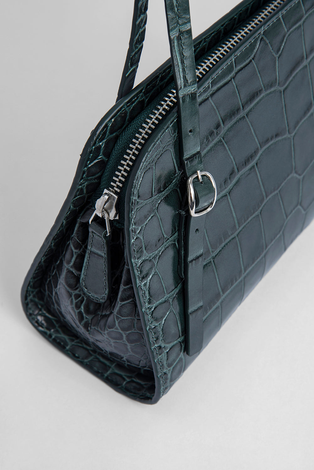 Lora Green Croco Embossed Leather