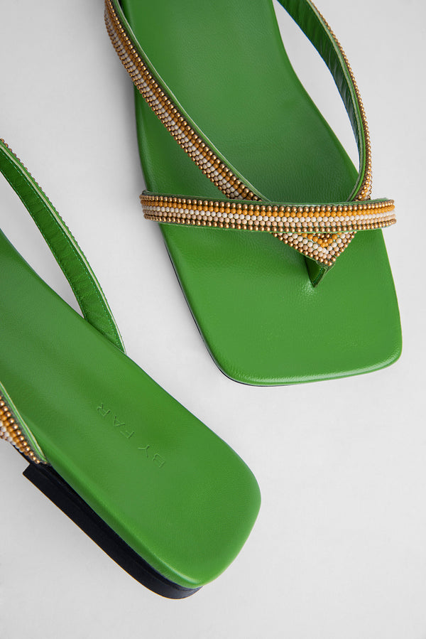 Deni Kiwi Green Leather and Beads