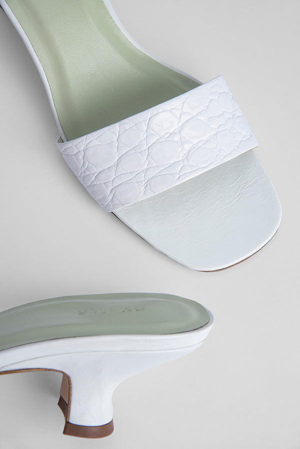 Freddy Optic White Circular Croco Embossed Leather