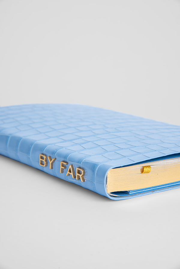 Notebook Sky Blue Croco Embossed Leather