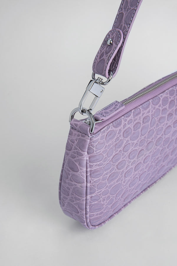 Rachel Lilac Circular Croco Embossed Leather