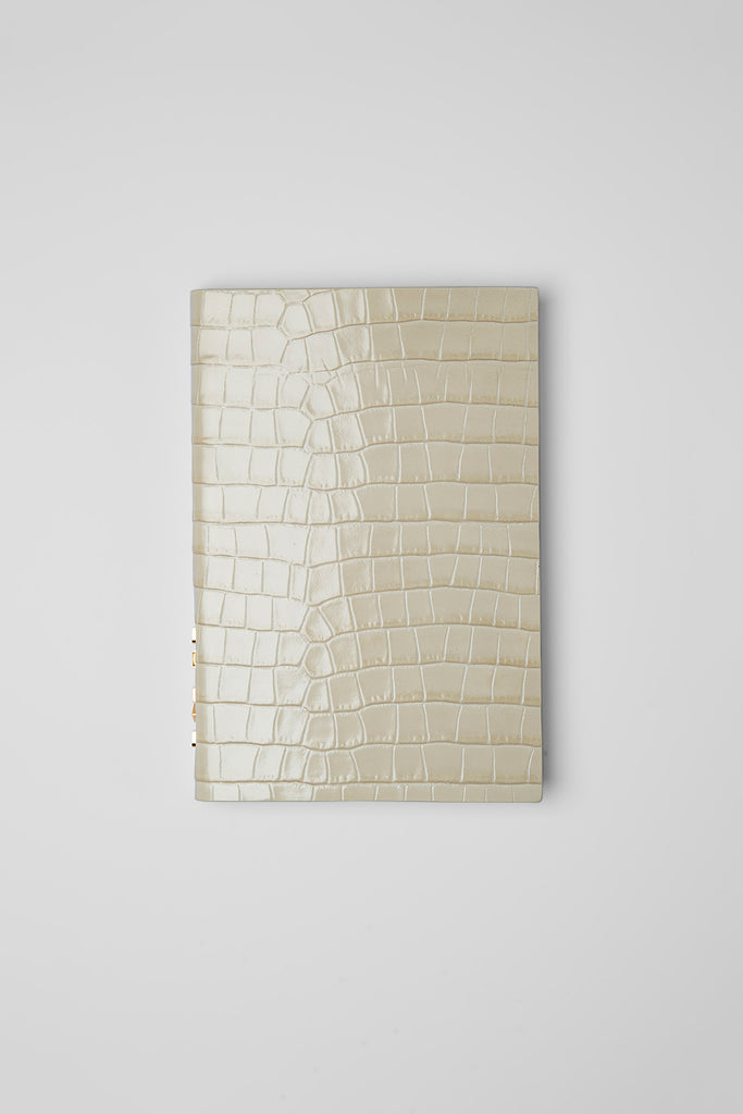 Notebook Cream Croco Embossed Leather