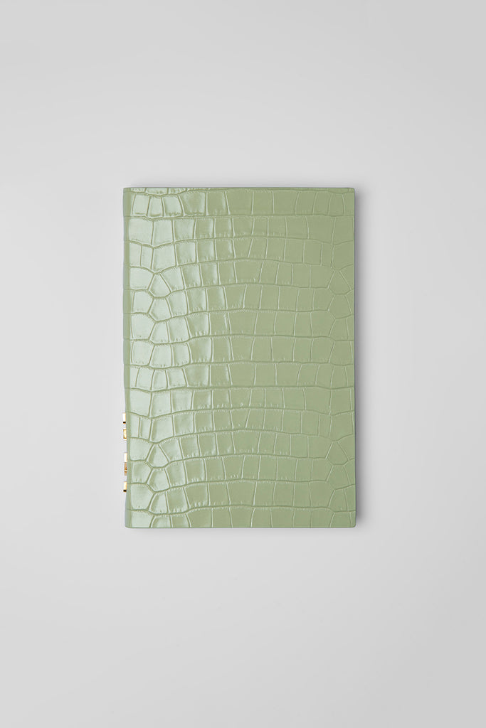 Notebook Sage green Croco Embossed Leather