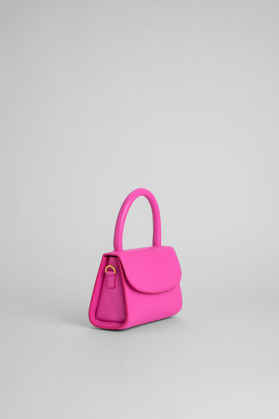 Mini Hot Pink Grained Leather