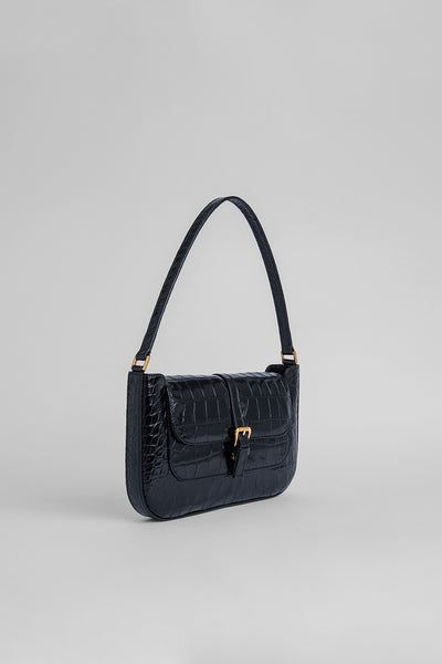 Miranda Black Croco Embossed Leather