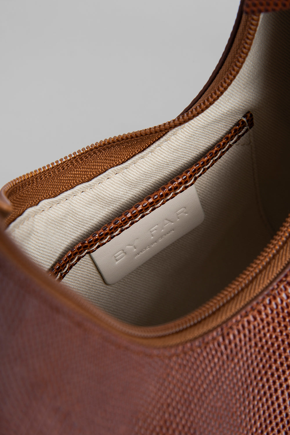 Amber Tan Lizard Embossed Leather