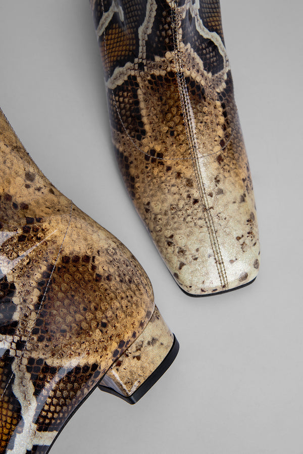 Este Boot Snake Print Patent Leather