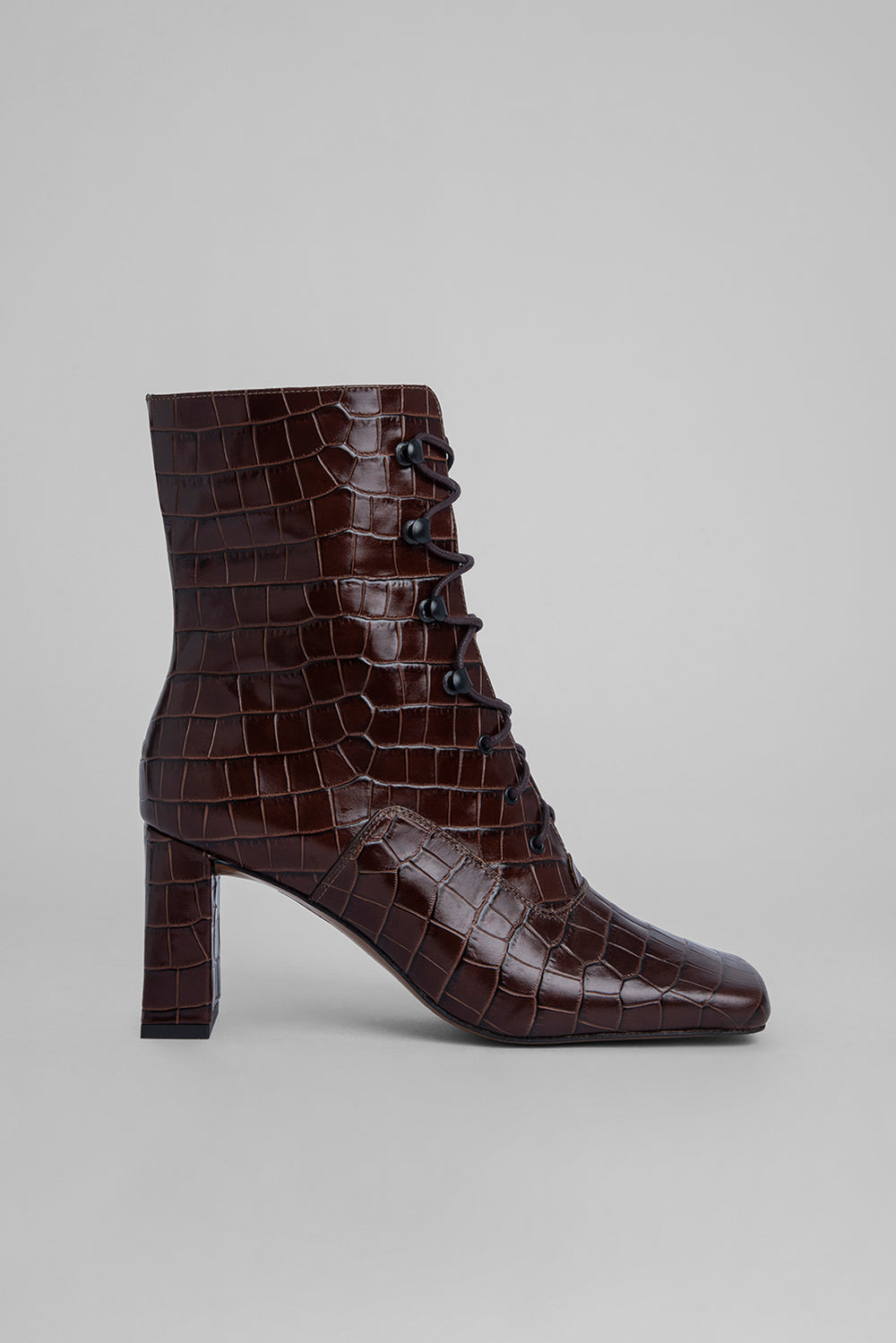 Claude Nutella Croco Embossed Leather