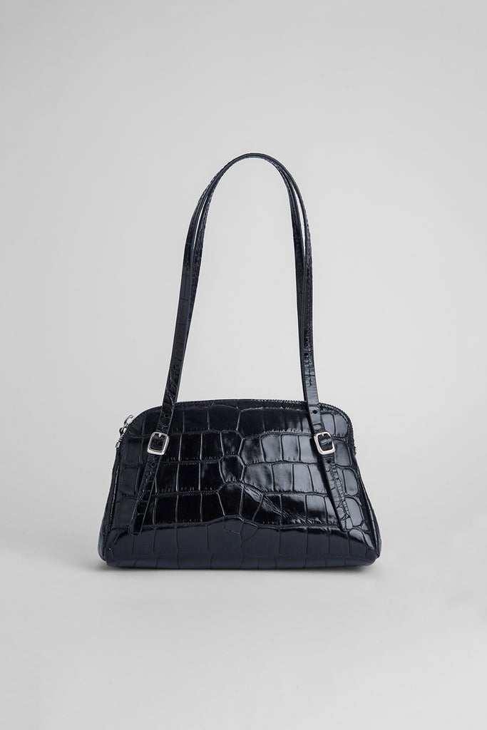 Lora Black Croco Embossed Leather