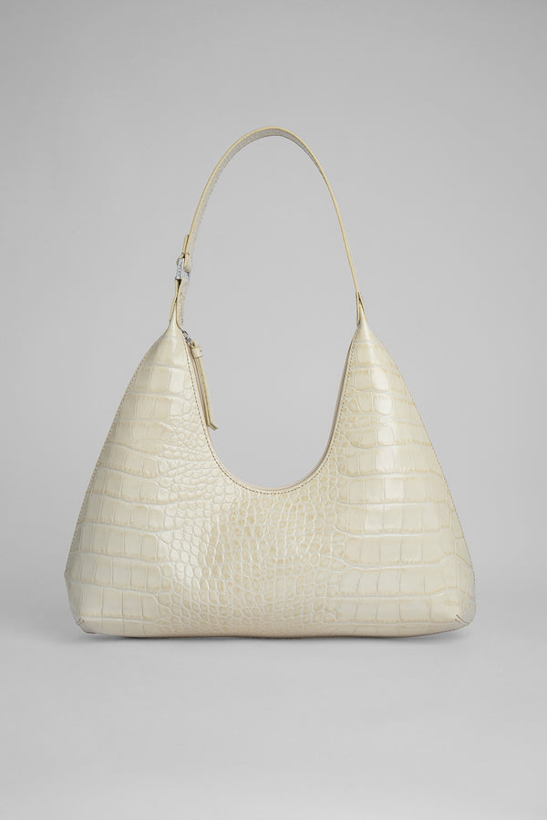 Amber Cream Croco Embossed Leather