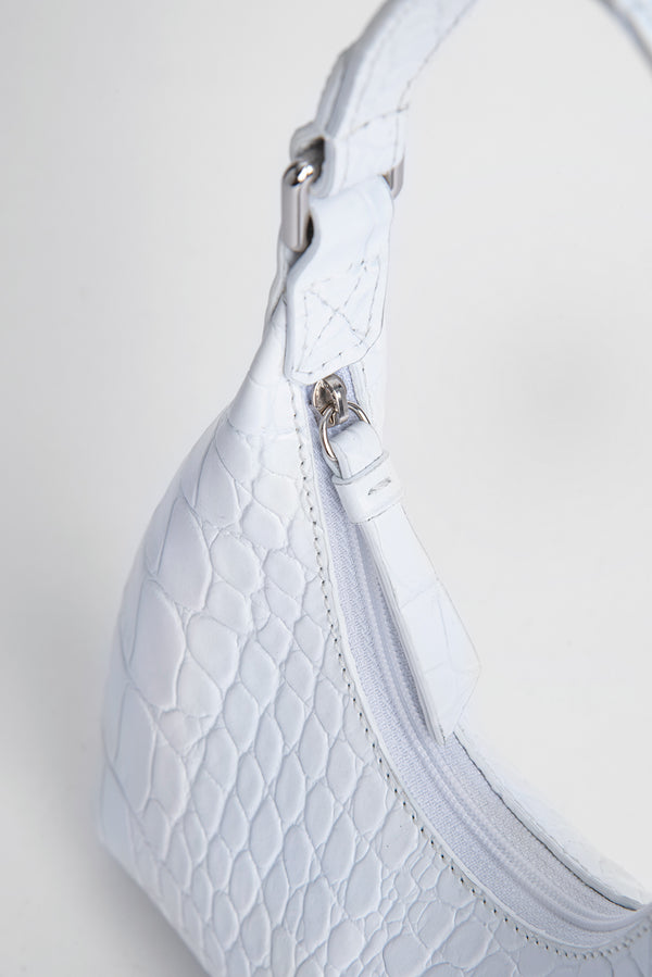 Baby Amber White Croco Embossed Leather