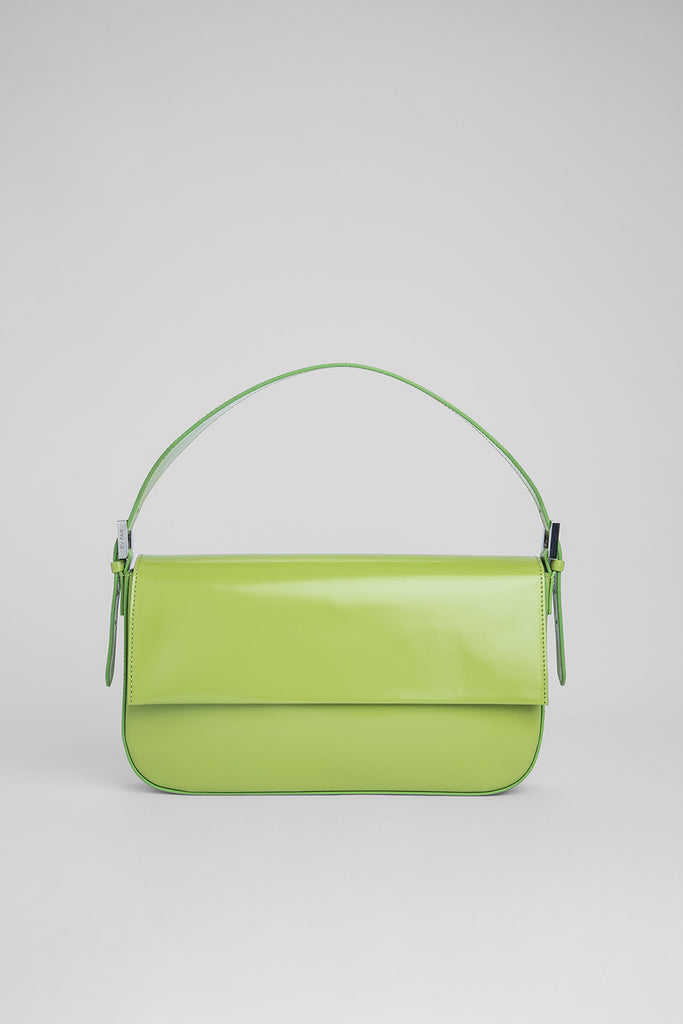 Manu Lime Green Semi Patent Leather