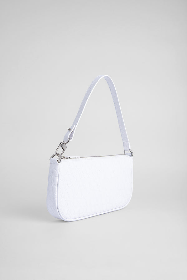 Rachel Optic White Circular Croco Embossed Leather