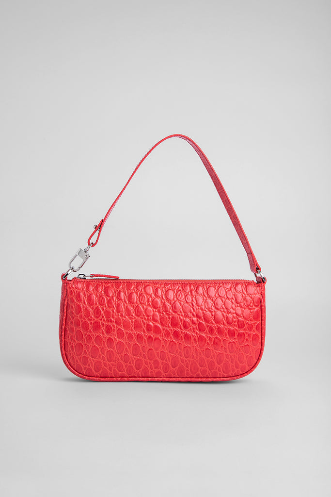 Rachel Pomodoro Circular Croco Embossed Leather