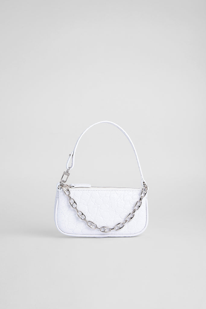 Mini Rachel Optic White Circular Croco Embossed Leather