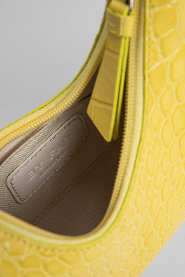 Baby Amber Custard Croco Embossed Leather