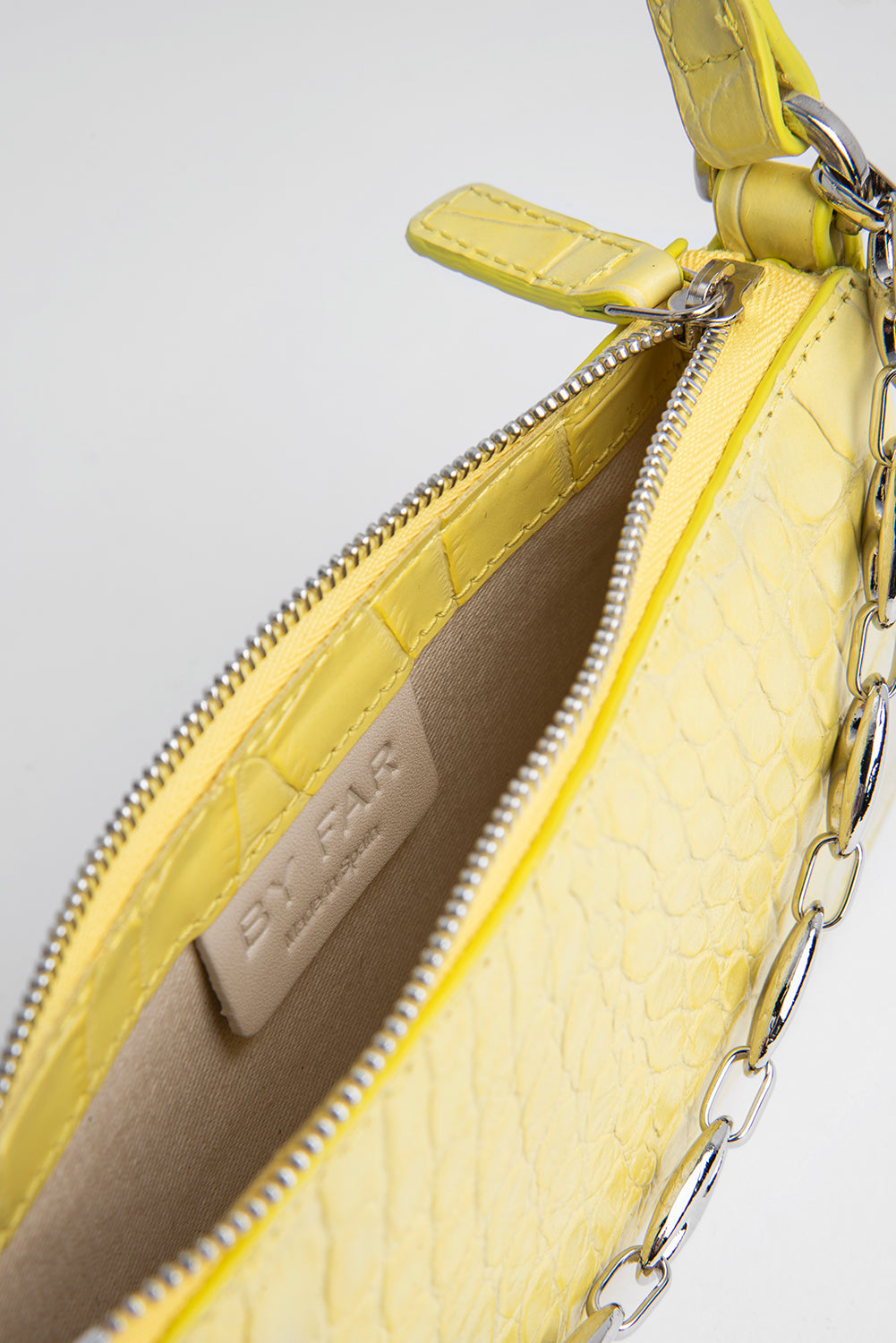 Mini Rachel Custard Croco Embossed Leather