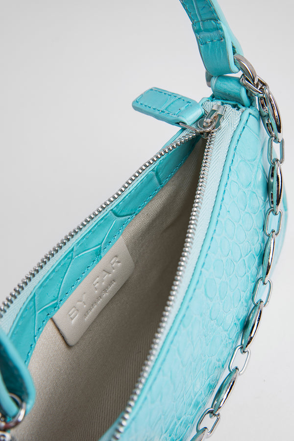 Mini Rachel Aqua Blue Croco Embossed Leather