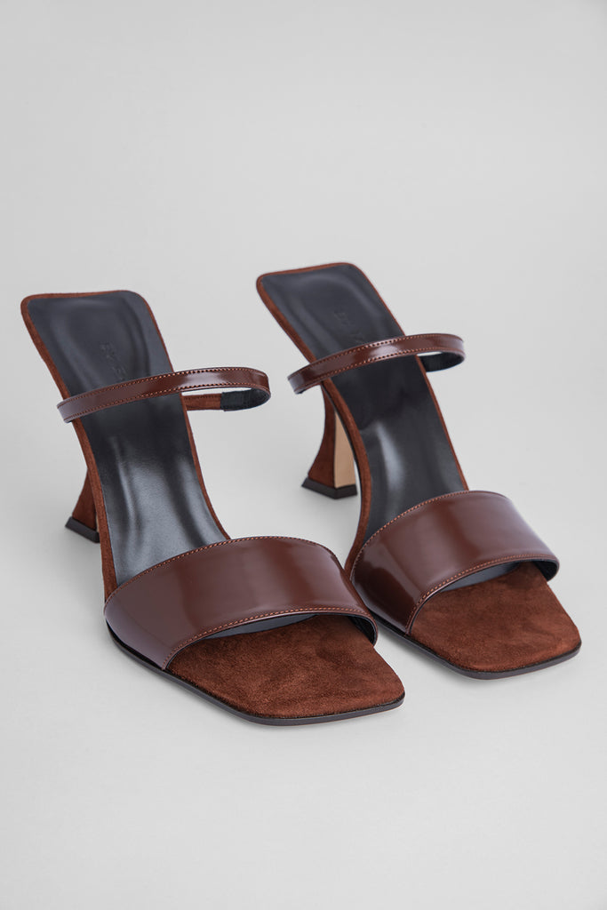 Nayla Dark Brown Semi Patent Leather and Suede