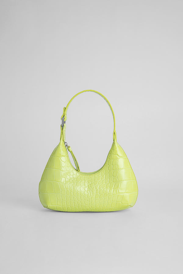 Baby Amber Matcha Croco Embossed Leather