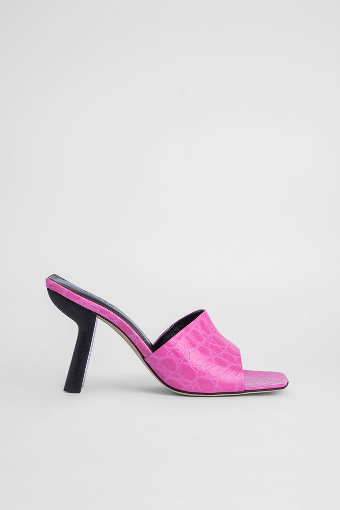 Liliana Fuchsia Circular Croco Embossed Leather