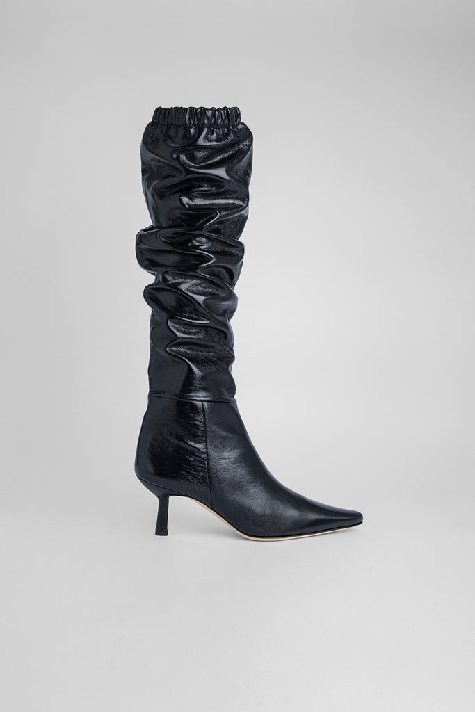 Gwen Black Creased Leather